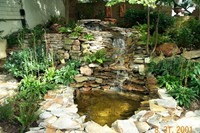 koi pond with waterfalls